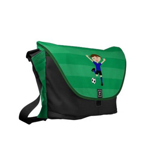 5th Birthday Blue and Black Soccer Goal Bag Commuter Bag
