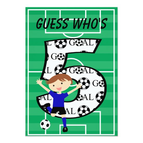 5th Birthday Blue and Black Soccer Goal Invitation
