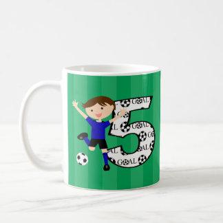 5th Birthday Blue and Black Soccer Goal Mug