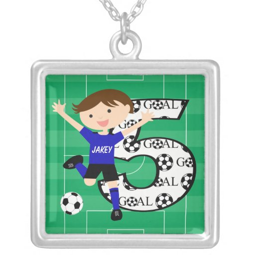 5th Birthday Blue and Black Soccer Goal Necklace
