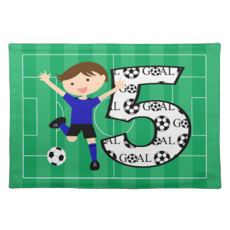 5th Birthday Blue and Black Soccer Goal Placemat