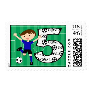5th Birthday Blue and Black Soccer Goal Postage