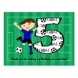 5th Birthday Blue and Black Soccer Goal Postcard