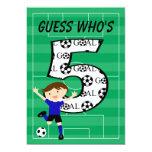 5th Birthday Blue and Black Soccer Goal v2 5x7 Paper Invitation Card