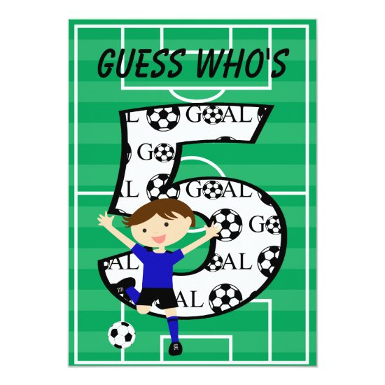 5th Birthday Blue and Black Soccer Goal v2 Invitation