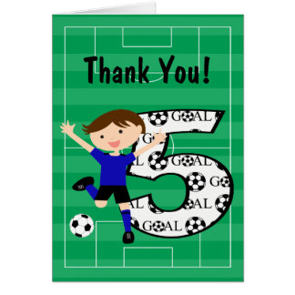 5th Birthday Blue and Black Soccer Thank You v2 Stationery Note Card