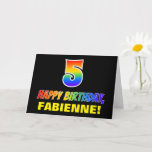 [ Thumbnail: 5th Birthday: Bold, Fun, Simple, Rainbow 5 Card ]