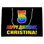 [ Thumbnail: 5th Birthday: Bold, Fun, Simple, Rainbow 5 Gift Bag ]