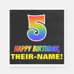 [ Thumbnail: 5th Birthday: Bold, Fun, Simple, Rainbow 5 Napkins ]