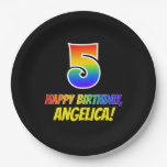 [ Thumbnail: 5th Birthday: Bold, Fun, Simple, Rainbow 5 Paper Plate ]