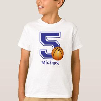 5th Birthday boy basketball personalized T-Shirt