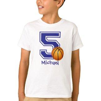 5th Birthday boy basketball personalized