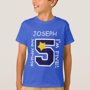 5th Birthday Boy BLUE One Year Custom Name A05A T Shirt