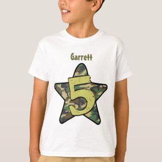 5th Birthday Boy Camo Custom Name with STAR V01C T-Shirt