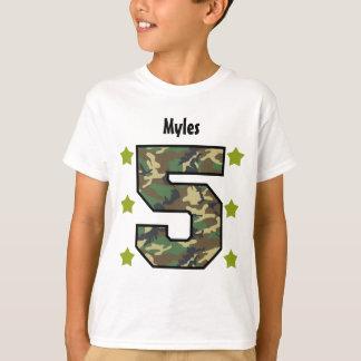 5th Birthday Boy Camo Four Year Custom Name V007F T-Shirt