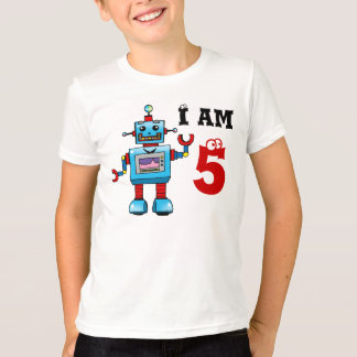 5th birthday boy gift - robot T-Shirt