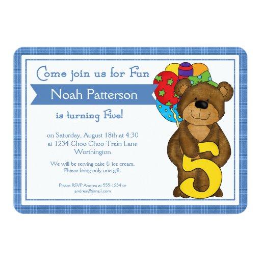 5th Birthday Boy Invitations Teddy Bear Train Zazzle