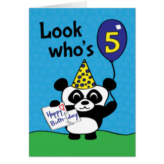 5th Birthday - Boy Panda with Balloon & Card