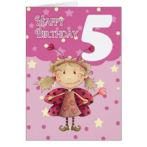 5th birthday card with cute ladybug fairy