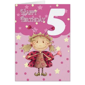 5th birthday card with cute ladybug fairy