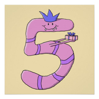 5th Birthday Cartoon in Pink. Poster