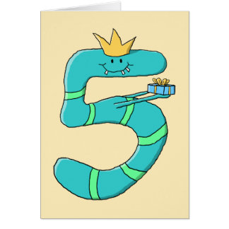 5th Birthday, Cartoon Monster in Teal. Card
