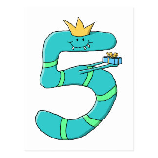 5th Birthday, Cartoon Monster in Teal. Postcard