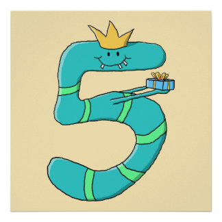 5th Birthday Cartoon Monster in Teal Poster