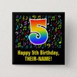 [ Thumbnail: 5th Birthday: Colorful Music Symbols, Rainbow 5 Button ]