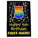 [ Thumbnail: 5th Birthday: Colorful Stars Pattern & Rainbow 5 Gift Bag ]