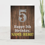 [ Thumbnail: 5th Birthday: Country Western Inspired Look, Name Card ]