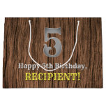 [ Thumbnail: 5th Birthday: Country Western Inspired Look, Name Gift Bag ]