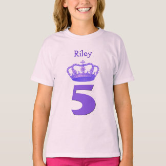 5th Birthday Crown and Big Number Custom Name Girl T-Shirt