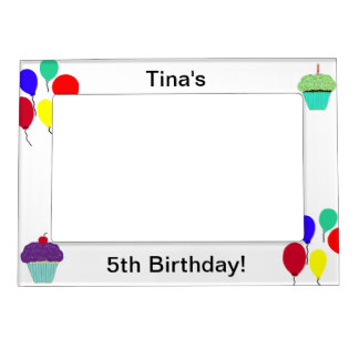 5th Birthday Cupcakes & Balloons Magnetic Frame