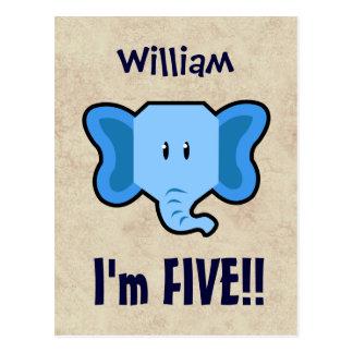 5th Birthday Cute Blue Elephant Face for BOY E05 Postcard