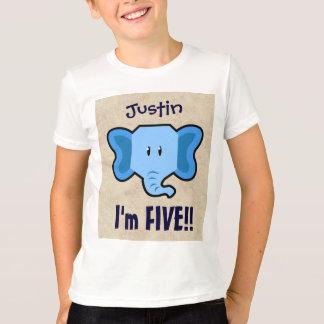 5th Birthday Cute Blue Elephant Face for BOY E05Z T-Shirt