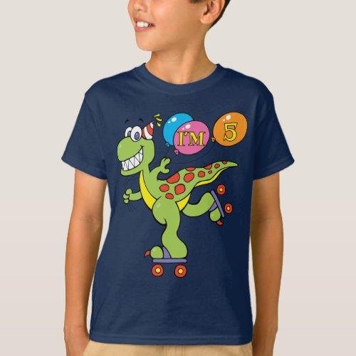 5th Birthday Dinosaur T_Shirt