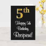 [ Thumbnail: 5th Birthday ~ Elegant Luxurious Faux Gold Look # Card ]