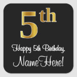 [ Thumbnail: 5th Birthday – Elegant Luxurious Faux Gold Look # Sticker ]