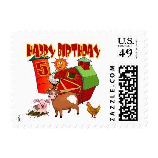 5th Birthday Farm Birthday Stamps