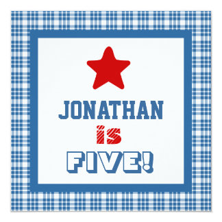 5th Birthday Five Year Old Square Frame Card