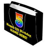 [ Thumbnail: 5th Birthday ~ Fun, Colorful, Vibrant, Rainbow 5 Gift Bag ]