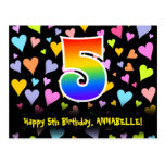[ Thumbnail: 5th Birthday: Fun Hearts Pattern, Rainbow 5 Postcard ]