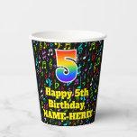 [ Thumbnail: 5th Birthday: Fun Music Notes Pattern, Rainbow 5 ]