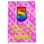 [ Thumbnail: 5th Birthday: Fun Pink Hearts Stripes & Rainbow 5 Gift Bag ]