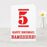 [ Thumbnail: 5th Birthday: Fun, Red Rubber Stamp Inspired Look Card ]