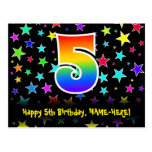 [ Thumbnail: 5th Birthday: Fun Stars Pattern, Rainbow 5, Name Postcard ]
