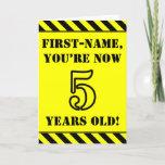 [ Thumbnail: 5th Birthday: Fun Stencil Style Text, Custom Name Card ]