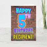 [ Thumbnail: 5th Birthday - Fun, Urban Graffiti Inspired Look Card ]