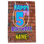 [ Thumbnail: 5th Birthday: Fun, Urban Graffiti Inspired Look Gift Bag ]